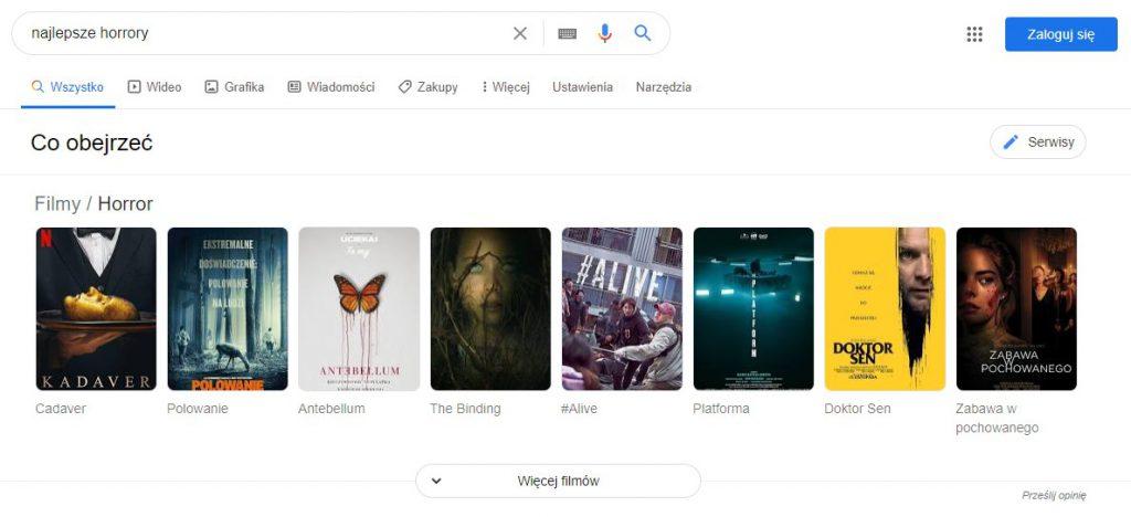 Pozycja zerowa w google wykres wiedzy najlepsze horrory